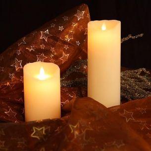 LED-Kerze aus Echtwachs, glatte Oberfläche, Flamme der Zukunft, 2 Größen