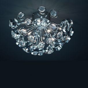 dekorative NV-Deckenleuchte mit Kristallglas, inklusive 9x20Watt G4 Leuchtmittel