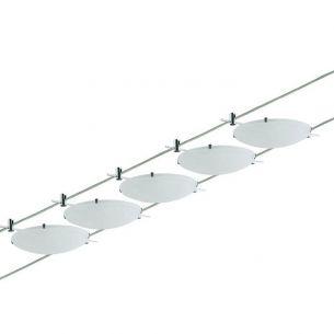 Halogen Seilsystem Komplett-Set in Chrom, 2x5m, inklusive Halogenleuchtmittel und Trafo
