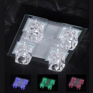 NV-Deckenleuchte mit LED und Fernbedienung - 4-flammig - 30 x 30cm