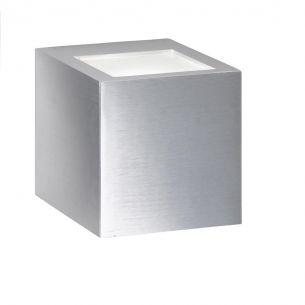Minimalistische Wandleuchte - 2 unterschiedliche Lichtaustritte oben und unten - Aluminium gebürstet