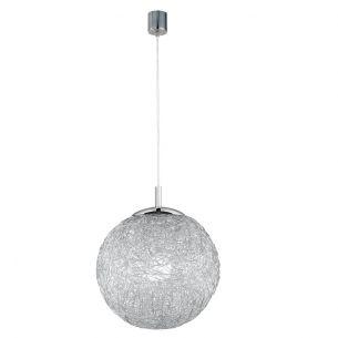 Charismatische Kugelleuchte - 1-flammig - Aluminiumdrahtgeflecht - stahlfarbig - Ø 30cm 30,00 cm, 135,00 cm
