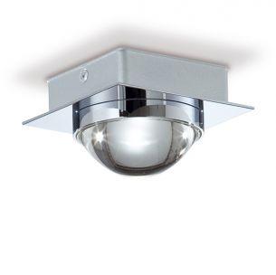LED-Aufbauleuchte eckig in chrom schwere Glasqualität, 1x6W 425lm