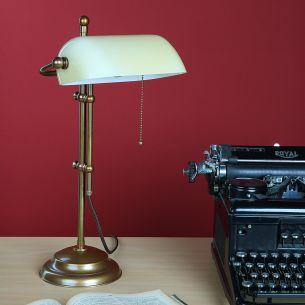 Bankerleuchte - Bankerlamp - in Altmessing mit Dreischicht-Glas - Fuß rund - Zugschalter