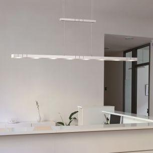 Hochwertige LED - Pendelleuchte im Bauhausdesign - höhenverstellbar - 8-flammig - Aluminium matt