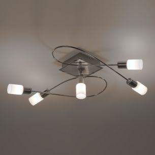 5-flg. LED-Deckenleuchte Aluminium gebürstet und Chrom