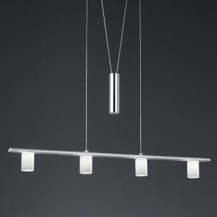 LED-Zugpendelleuchte Aluminium gebürstet und Chrom inklusive 4x LED 5Watt, 3000K 330lm