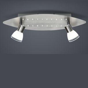 LED-Leuchte Nickel matt, 20 weiße LEDs und 2x G9 ECO-28W 330lm