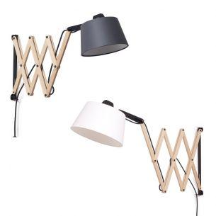 Dimmbare Design-Scherenwandleuchte aus Echtholz Weißeiche - Schirm in Ivory oder Graphit