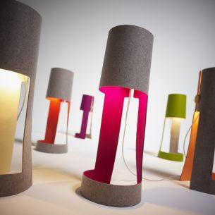 Design-Tischleuchte aus Wollfilz , 5 Farbkombinationen 100% Naturprodukt