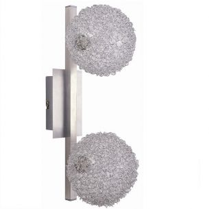 Wandleuchte aus Aluminium und Kugelgeflecht, inklusive Leuchtmittel