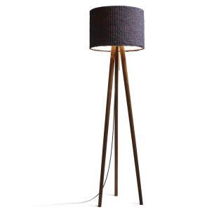 Design-Stehleuchte aus Echtholz Nussbaum - mit Schirm graphite (dunkelgrau) grafit, Nußbaum