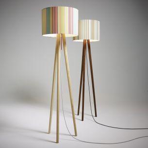 Design-Stehleuchte aus Echtholz in Weißeiche oder Nussbaum - Schirmmotive wählbar