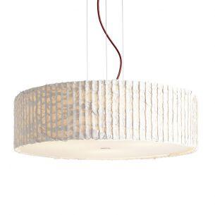 Design-Pendelleuchte mit Schirm aus Trevira-Stoff in ivory (elfenbein) - Textilkabel Rot - Ø54cm elfenbein/rot