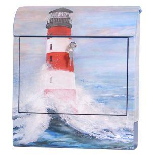 Briefkasten Leuchtturm aus Stahlblech mit Sound, Sonderlackierung, Digitaldruck