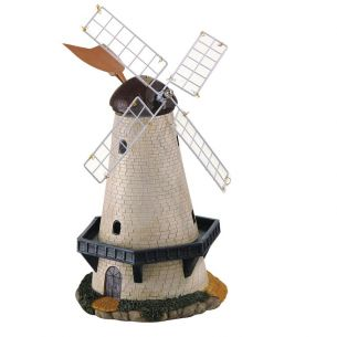 LED-Solarleuchte Windmühle Steinoptik