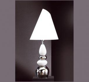 Leuchte mit Keramik weiß/silber, Schirm weiß verstellbar
