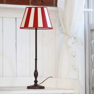 Tischleuchte mit Fuß in Braun gewischt und rot-cremefarbenen Schirm