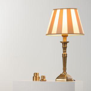 tischleuchte mit fu in messing antik und beige. Black Bedroom Furniture Sets. Home Design Ideas