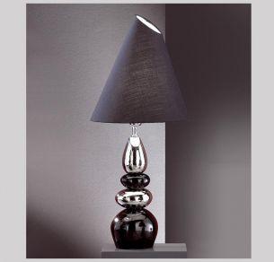 Leuchte mit Keramik schwarz/silber, Schirm schwarz verstellbar