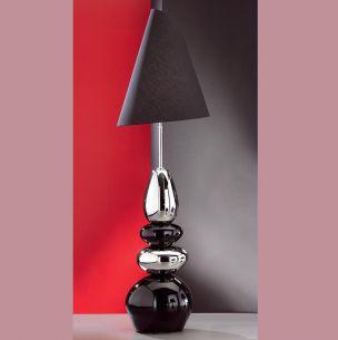 Stehleuchte Stone mit Keramik schwarz/silber, Schirm schwarz verstellbar