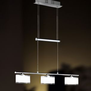 3-flammige Balkenpendelleuchte - Chrom - Glas weiß - Rand klar - Höhenverstellbar