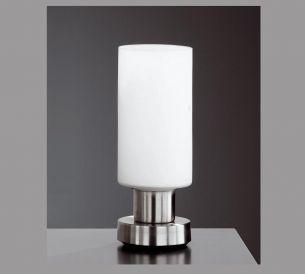 Tischleuchte in Nickel matt und weißem Glas