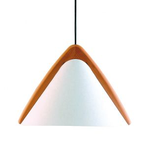 Design Pendelleuchte mit Lunopalschirm und Echtholz  Buche