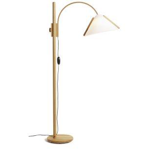 Design Stehleuchte mit Lunopalschirm und Echtholz Erle, höhenverstellbar