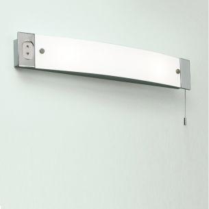 spiegelleuchte ixtra chrom mit zugschalter und steckdose wohnlicht. Black Bedroom Furniture Sets. Home Design Ideas