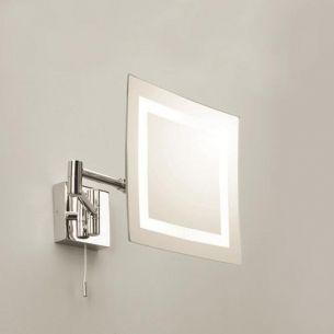 Beleuchteter Kosmetikspiegel mit Lupenfunktion - Chrom - Gelenkarm