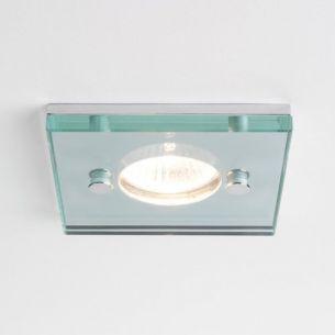 LED - Deckeneinbauleuchte eckig - Klarglas - Chrom - 5x5cm