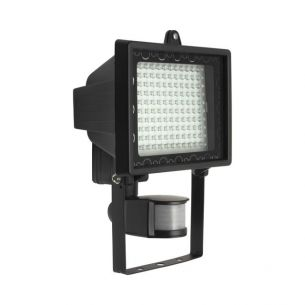 LED-Strahler mit Bewegungsmelder in Schwarz, 130 LEDs