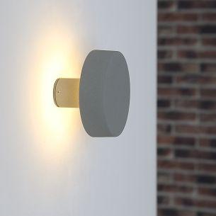 LED-Wandleuchte aus Aluminiumdruckguss in Silbergrau, LED 48 x 0,1 Watt warmweiß