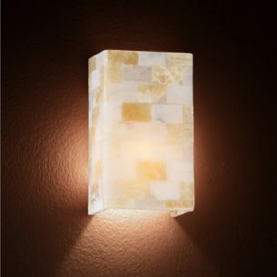 Wandleuchte in Amber komplett handgearbeitet aus Alabasterglaselementen