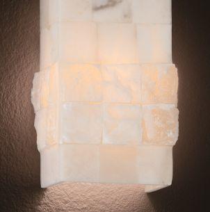 Wandleuchte komplett handgearbeitet aus weißen Alabasterglaselementen in 2 Größen wählbar