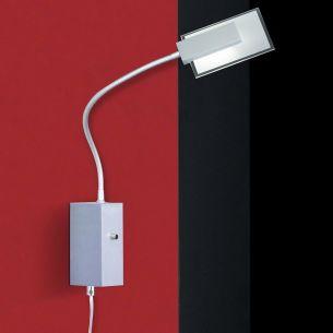 LED-Wandleuchte, aluminiumfarbig matt/Chrom, Glas klar/satiniert