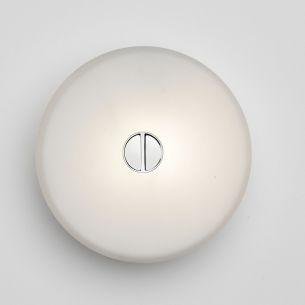 Aussen oder Innen - Wand oder Decke - Design-Leuchte Mini Button von Flos - Abdeckung Polykarbonat weiß Kunststoff