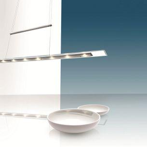 LED-Zugpendelleuchte in Stahl-gebürstet mit klarer Glasplatte 140cm, inklusive 10x 3Watt LED, 2900K