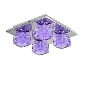 Peppige Deckenleuchte mit 4 Kristallglaswürfeln - Inklusive LEDs purple - 3-Stufen schaltbar