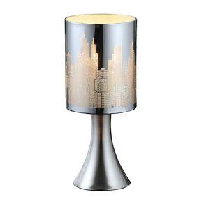 Kleine Tischleuchte mit Motiv-Lampenschirm - Chrom - Mit Touchdimmer - Schirm silber