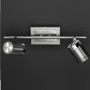 Moderne LED-Strahlerserie - Nickel matt - Nickel poliert - Deckenstrahler 2-flammig