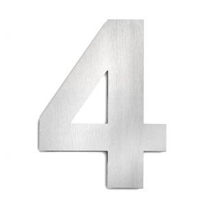 Hausnummer 4 aus Edelstahl, groß 4