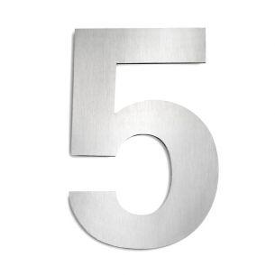 Hausnummer 5 aus Edelstahl, groß