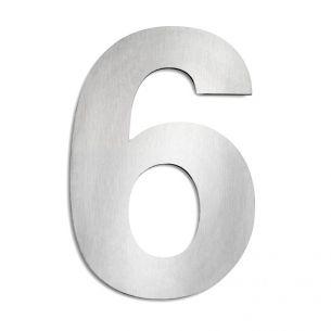 Hausnummer 6 aus Edelstahl, groß 6