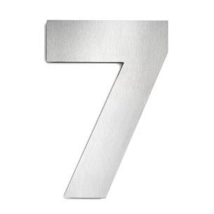 Hausnummer 7 aus Edelstahl, groß