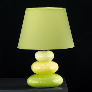 Tischleuchte- mit Keramik grün, Schirm grün