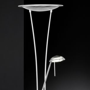 Dimmbarer LED-Fluter mit Lesearm in Nickel matt - getrennt schaltbar, LED warmweiß 3000K