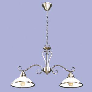 2 flammige Pendelleuchte, Metall in Bronze mit weißem Opalglas