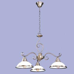 3 flammige Pendelleuchte, Metall in Bronze mit weißem Opalglas
